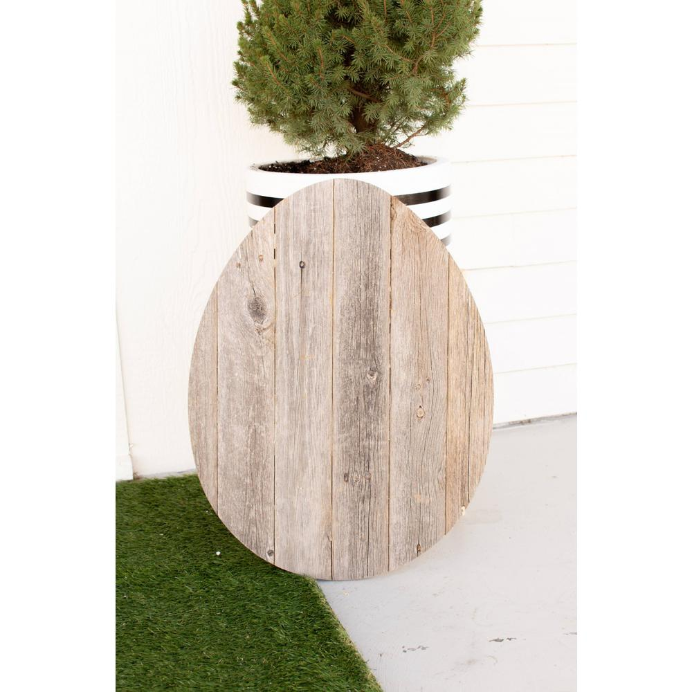 """24"""" Rustic Farmhouse Gray Wood Large Egg - 384889. Picture 1"""