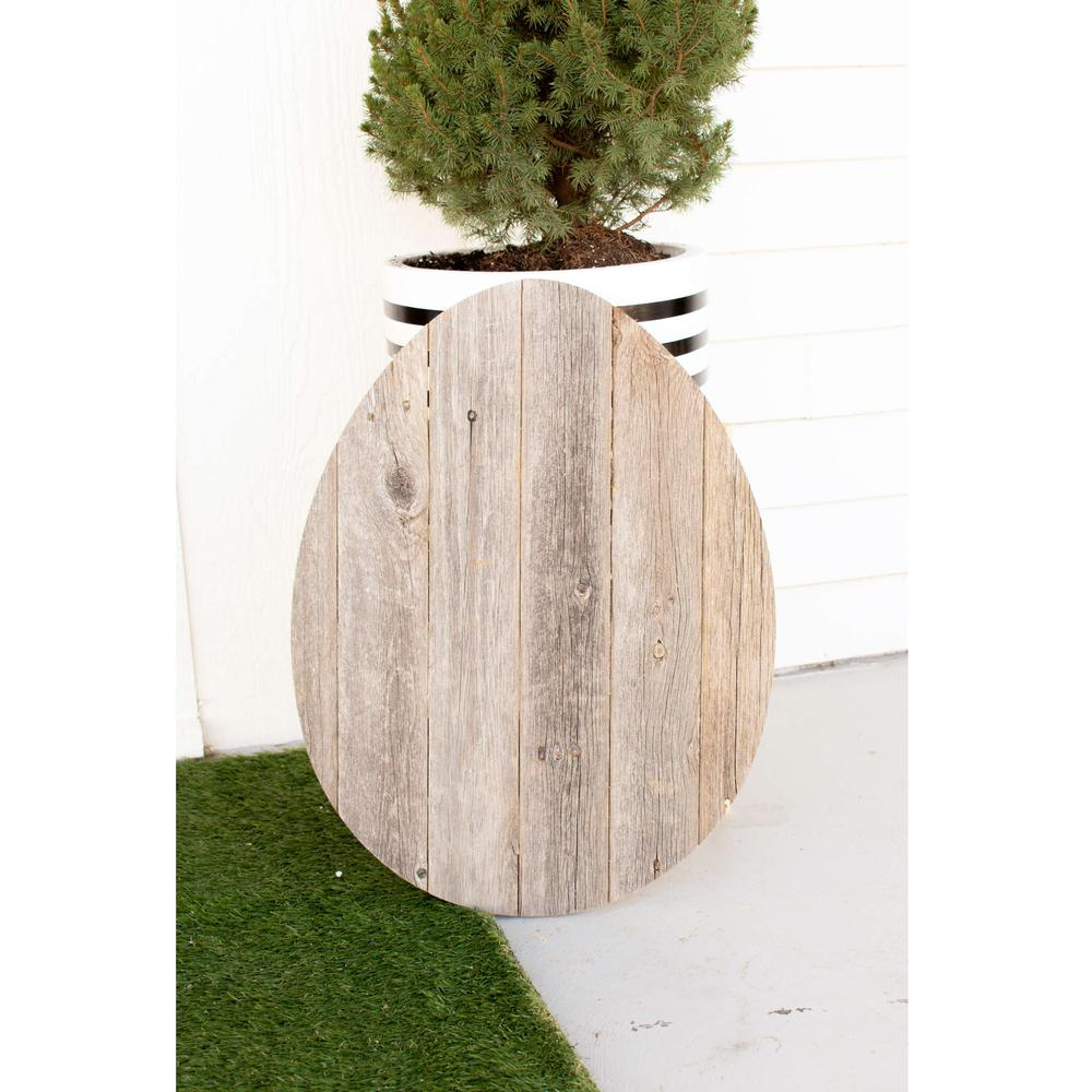 """24"""" Rustic Farmhouse Gray Wood Large Egg - 384889. Picture 3"""