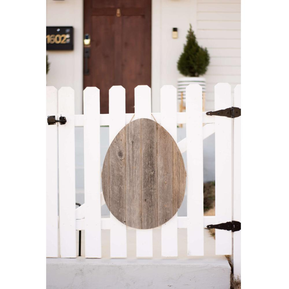 """24"""" Rustic Farmhouse Gray Wood Large Egg - 384889. Picture 4"""