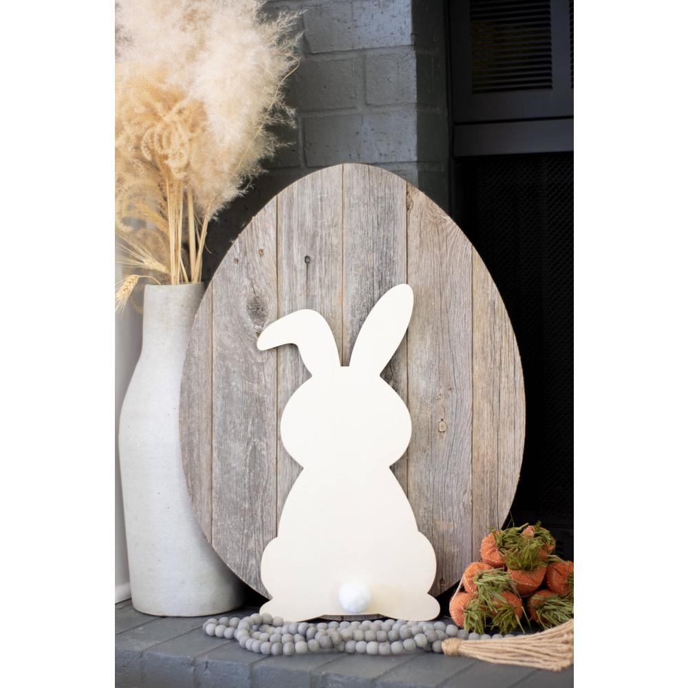 """24"""" Rustic Farmhouse Gray Wood Large Egg - 384889. Picture 5"""