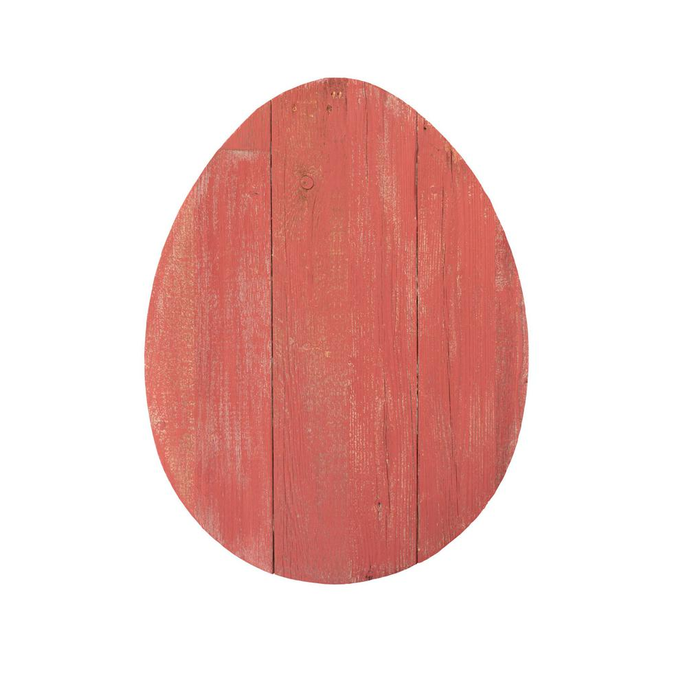 """12"""" Farmhouse Red Wooden Large Egg - 384891. Picture 1"""