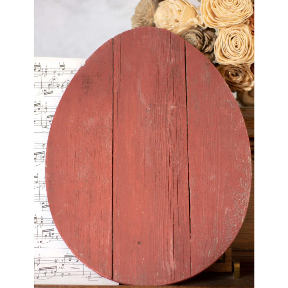 """12"""" Farmhouse Red Wooden Large Egg - 384891. Picture 2"""