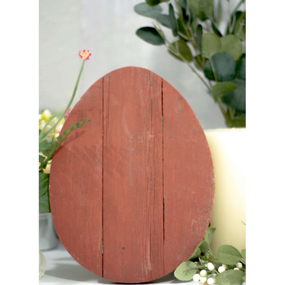 """12"""" Farmhouse Red Wooden Large Egg - 384891. Picture 5"""