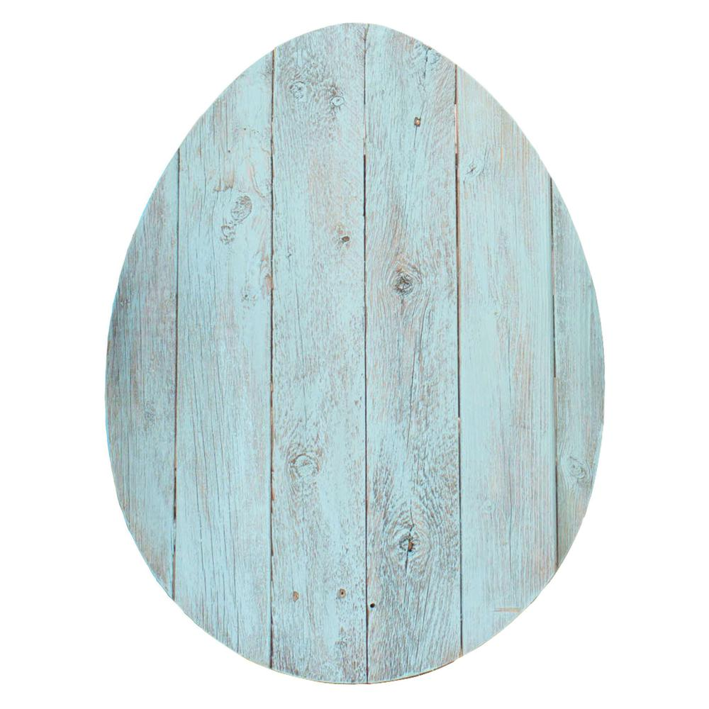 """24"""" Rustic Farmhouse Turquoise Wood Large Egg - 384896. Picture 1"""