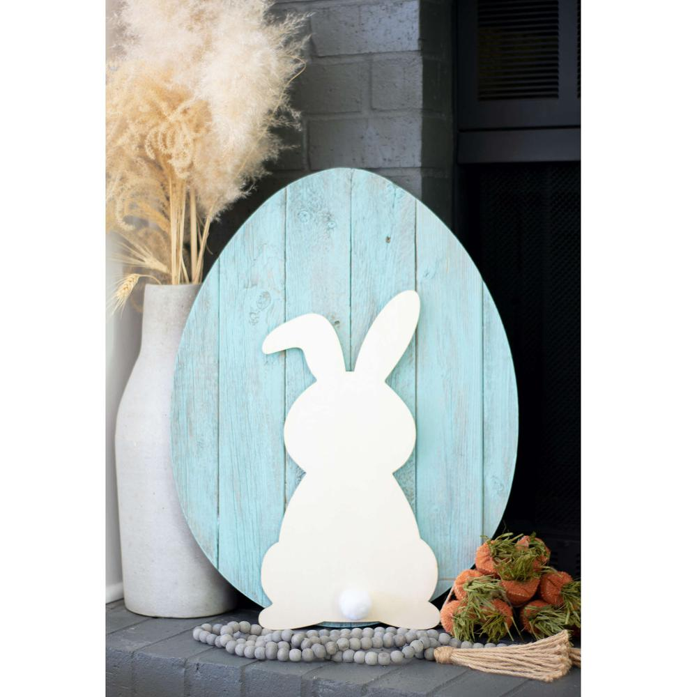 """24"""" Rustic Farmhouse Turquoise Wood Large Egg - 384896. Picture 3"""