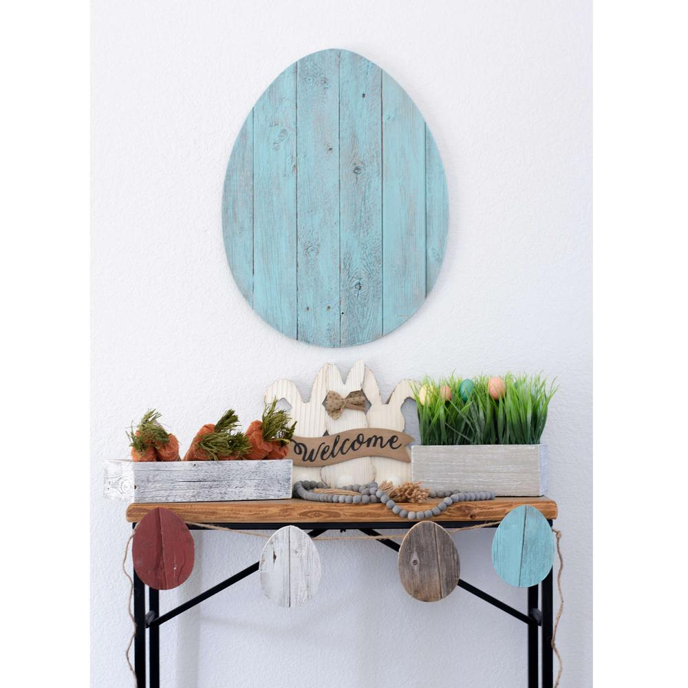 """24"""" Rustic Farmhouse Turquoise Wood Large Egg - 384896. Picture 4"""