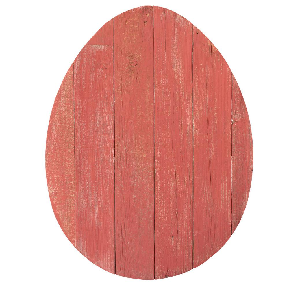 """24"""" Rustic Farmhouse Red Wood Large Egg - 384897. Picture 1"""