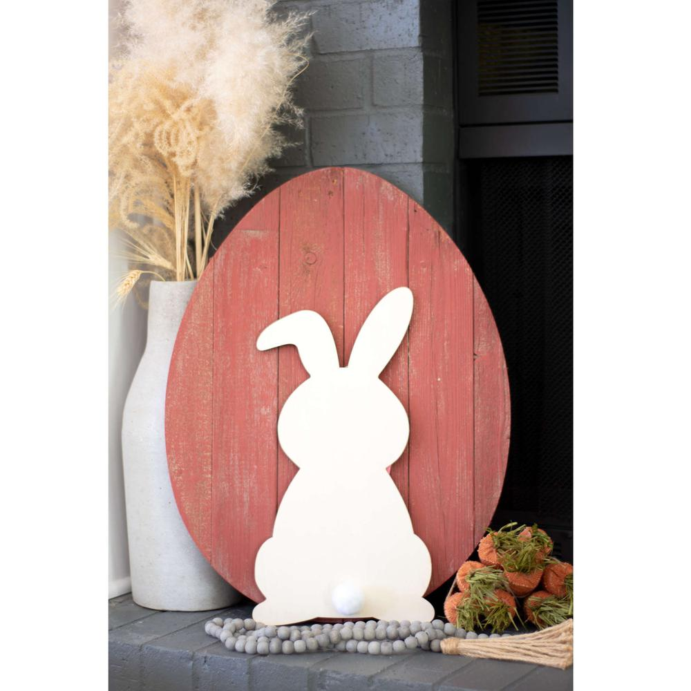 """24"""" Rustic Farmhouse Red Wood Large Egg - 384897. Picture 3"""