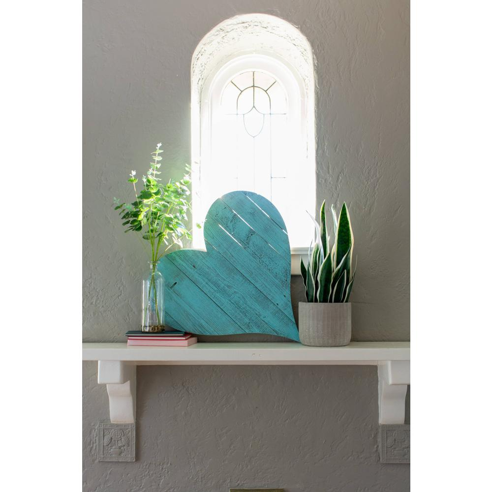 """12"""" Farmhouse Turquoise Large Wooden Heart - 384899. Picture 2"""
