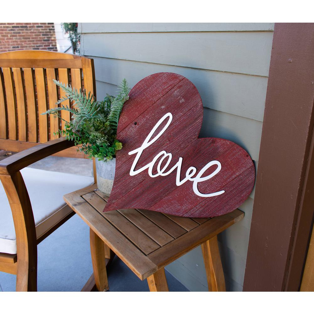 """12"""" Farmhouse Red Wooden Heart - 384901. Picture 3"""