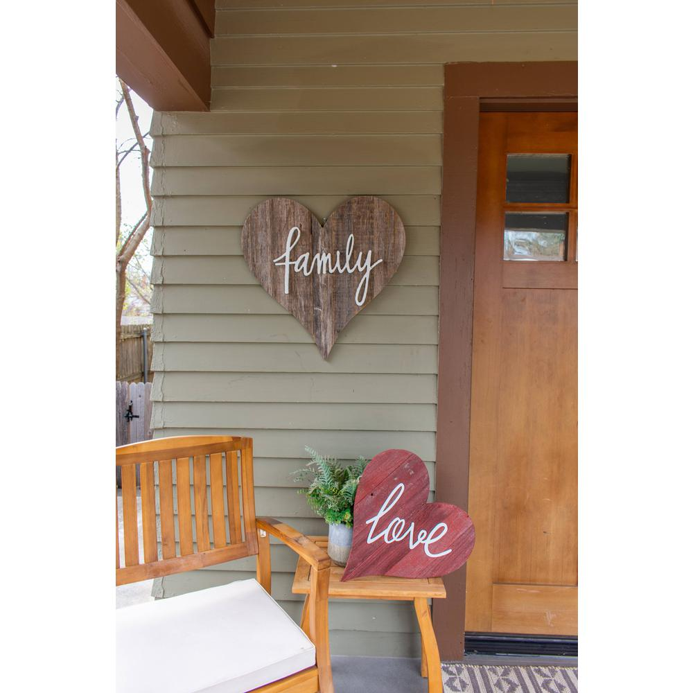 """12"""" Farmhouse Red Wooden Heart - 384901. Picture 5"""