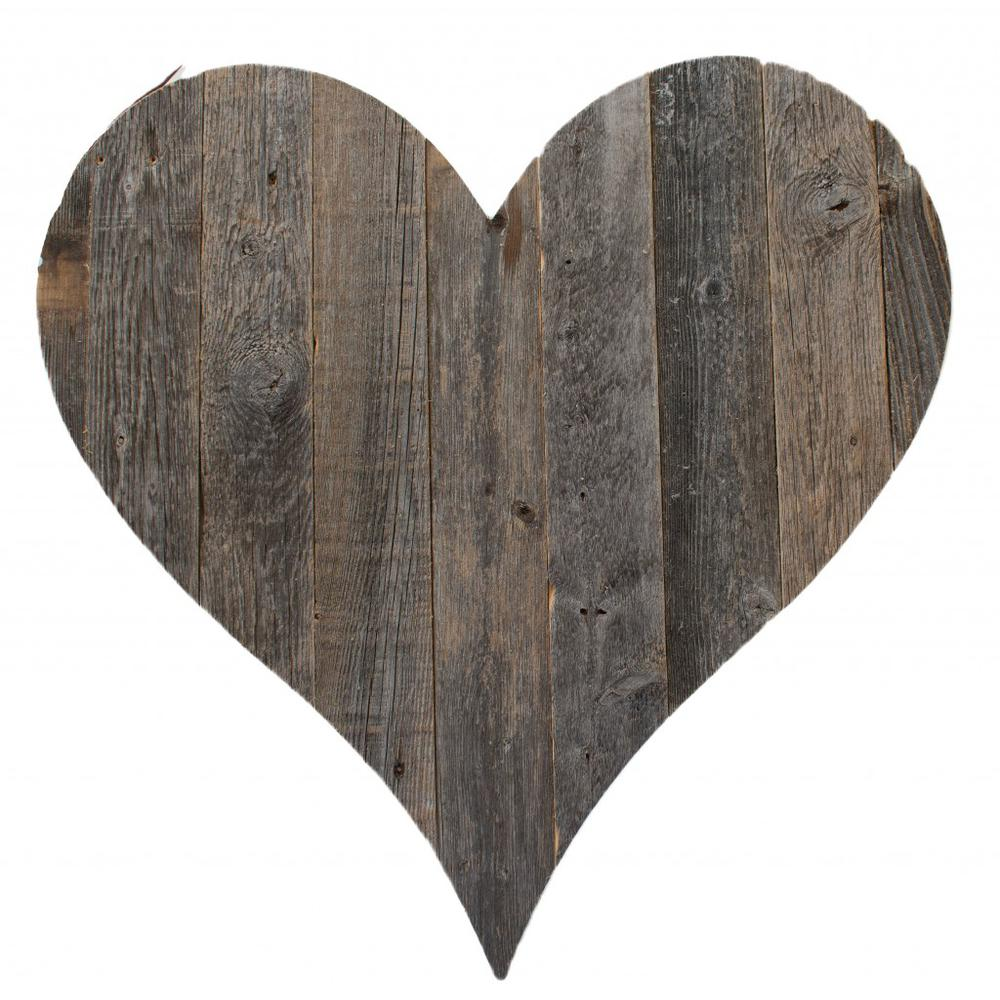 """18"""" Rustic Farmhouse Gray Wooden Heart - 384903. Picture 1"""