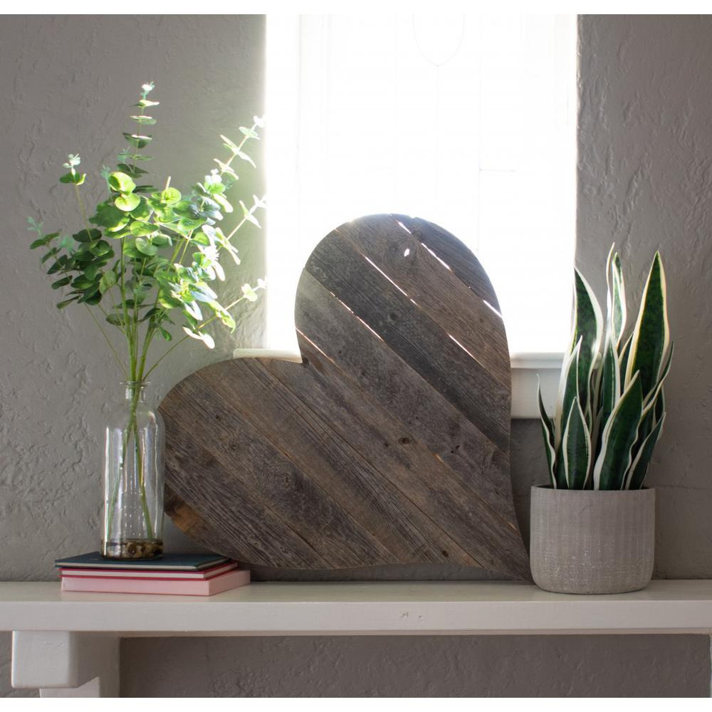 """18"""" Rustic Farmhouse Gray Wooden Heart - 384903. Picture 4"""