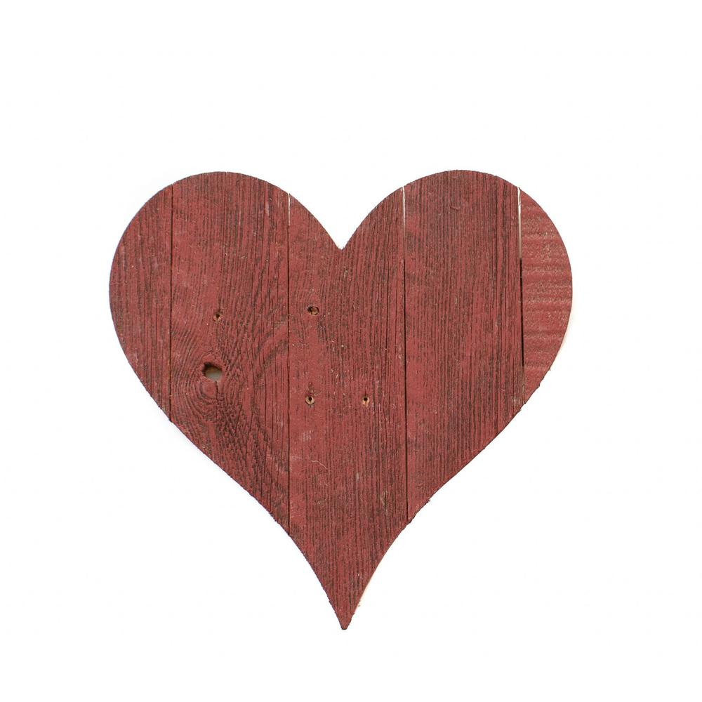 """18"""" Rustic Farmhouse Red Wooden Heart - 384904. Picture 1"""