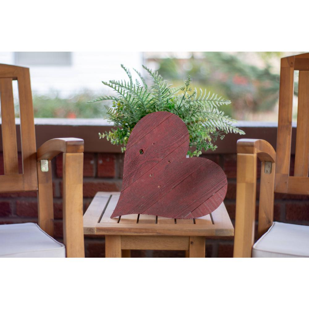 """18"""" Rustic Farmhouse Red Wooden Heart - 384904. Picture 2"""