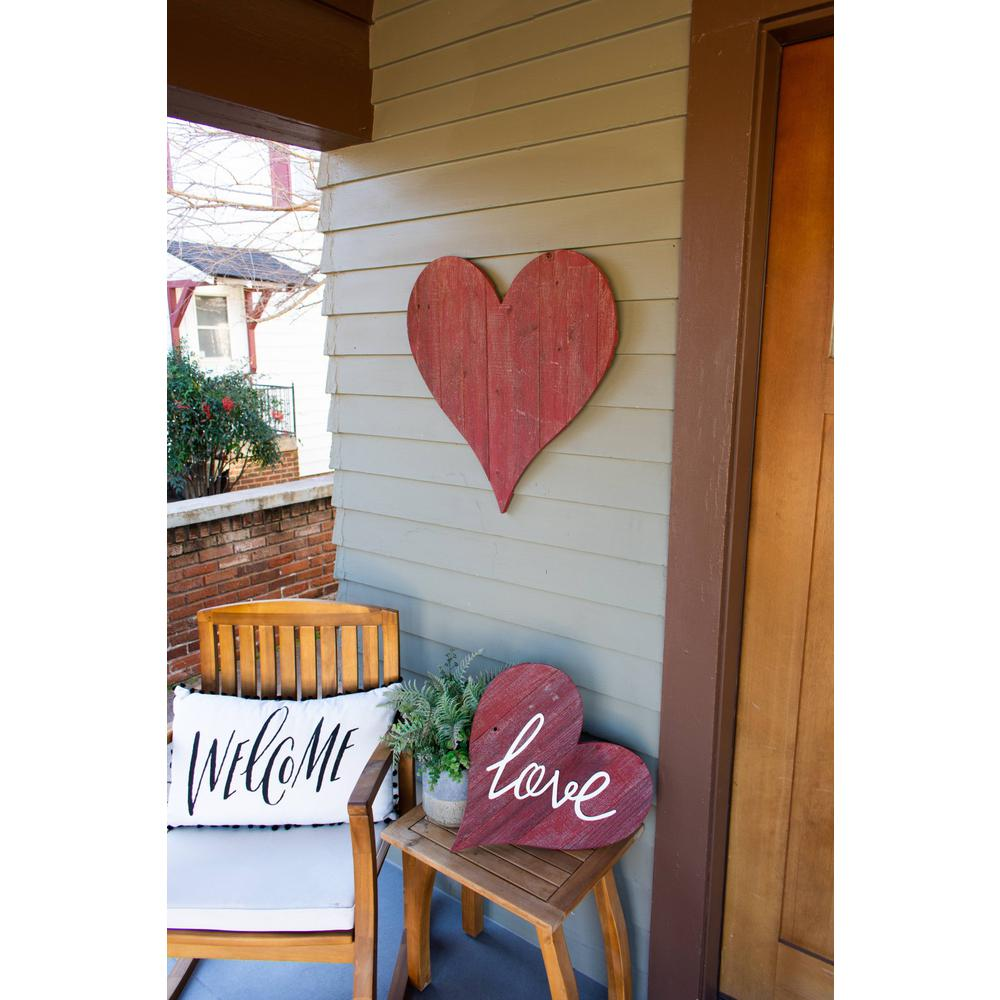 """18"""" Rustic Farmhouse Red Wooden Heart - 384904. Picture 4"""
