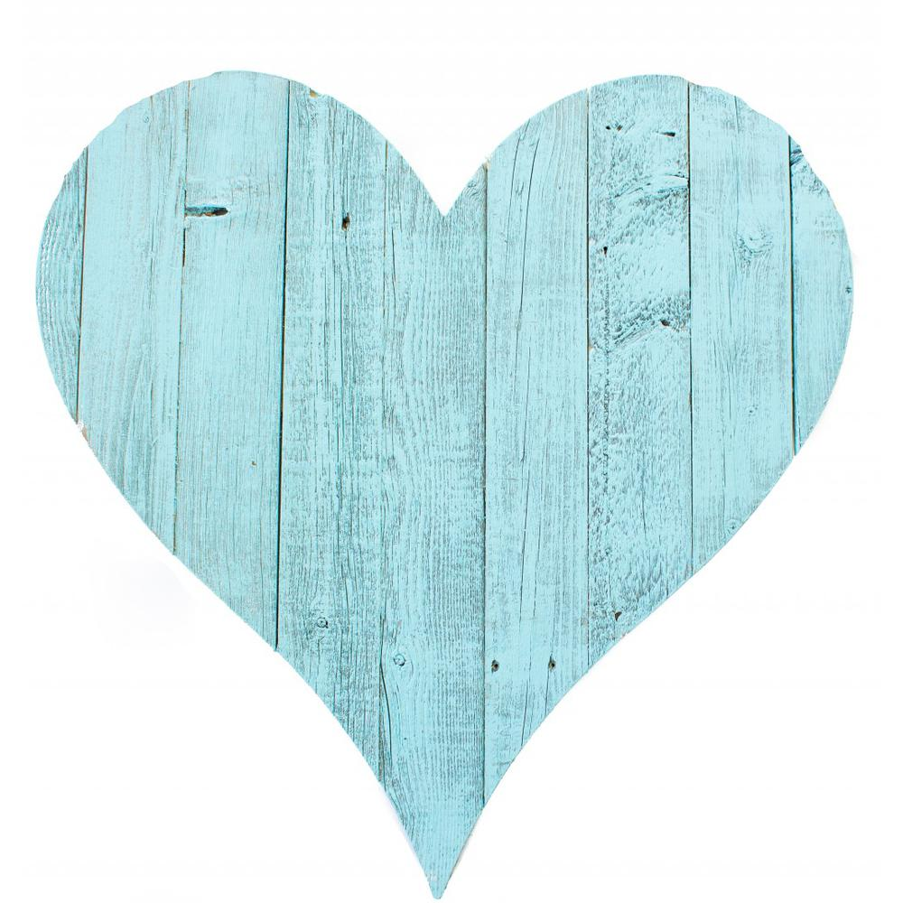"""18"""" Rustic Farmhouse Turquoise Wooden Heart - 384906. Picture 1"""