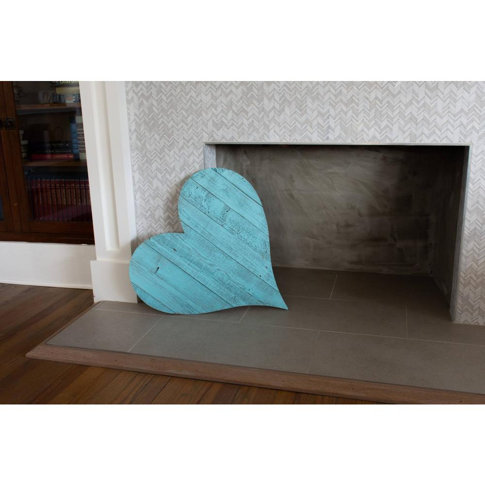 """18"""" Rustic Farmhouse Turquoise Wooden Heart - 384906. Picture 3"""