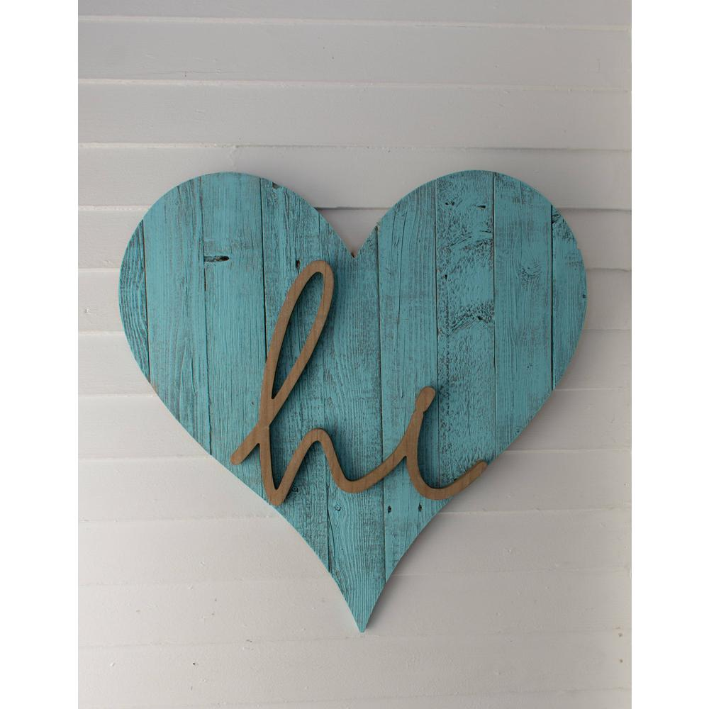 """18"""" Rustic Farmhouse Turquoise Wooden Heart - 384906. Picture 4"""