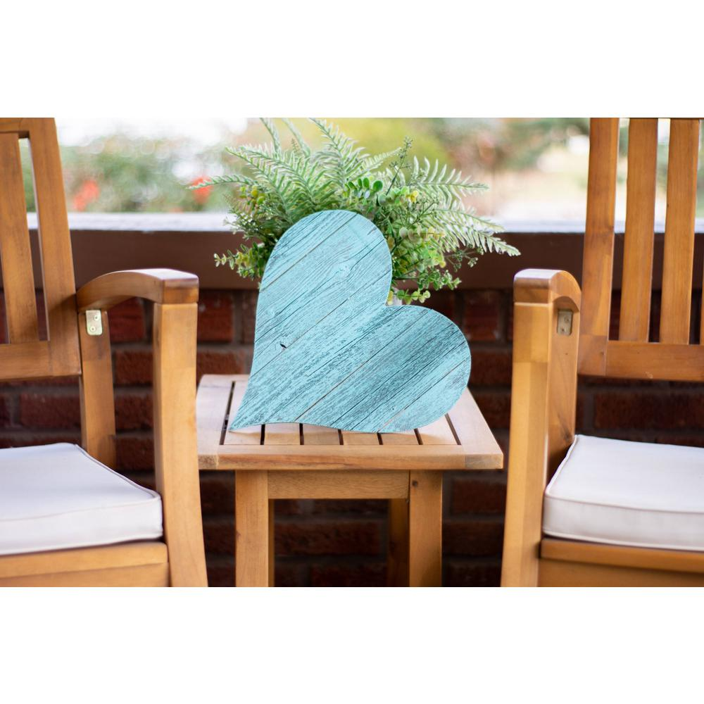 """18"""" Rustic Farmhouse Turquoise Wooden Heart - 384906. Picture 5"""