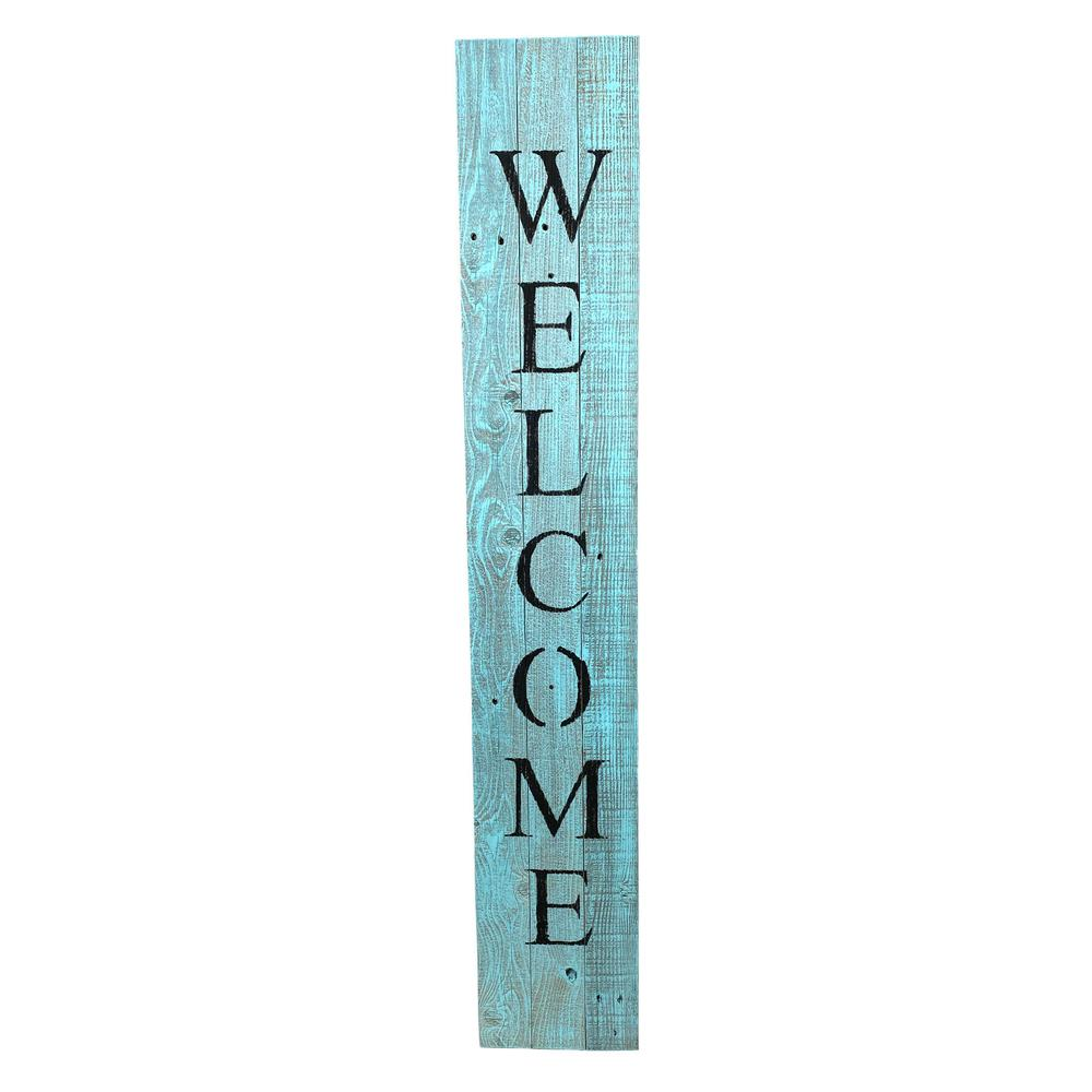 Rustic Light Aqua Blue Front Porch Welcome Sign - 384912. Picture 1