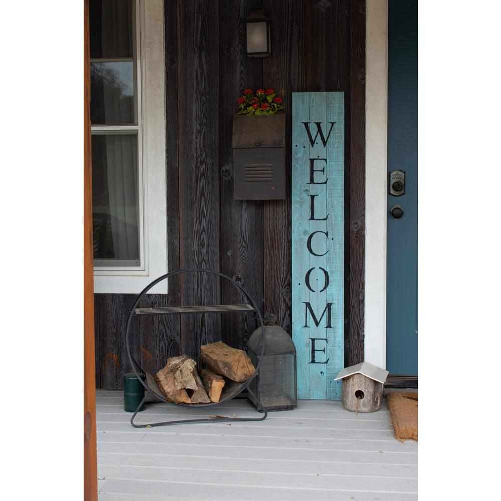 Rustic Light Aqua Blue Front Porch Welcome Sign - 384912. Picture 3