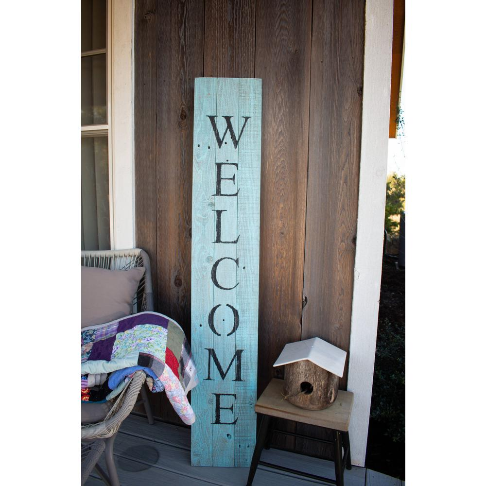 Rustic Light Aqua Blue Front Porch Welcome Sign - 384912. Picture 5