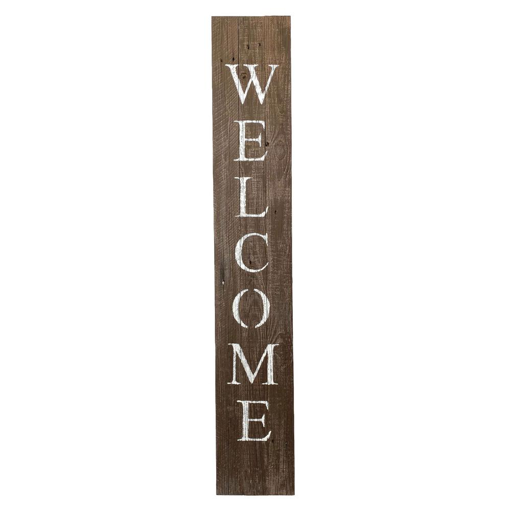 Rustic Espresso Brown and White Front Porch Welcome Sign - 384913. Picture 1