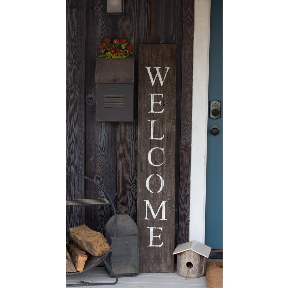 Rustic Espresso Brown and White Front Porch Welcome Sign - 384913. Picture 2