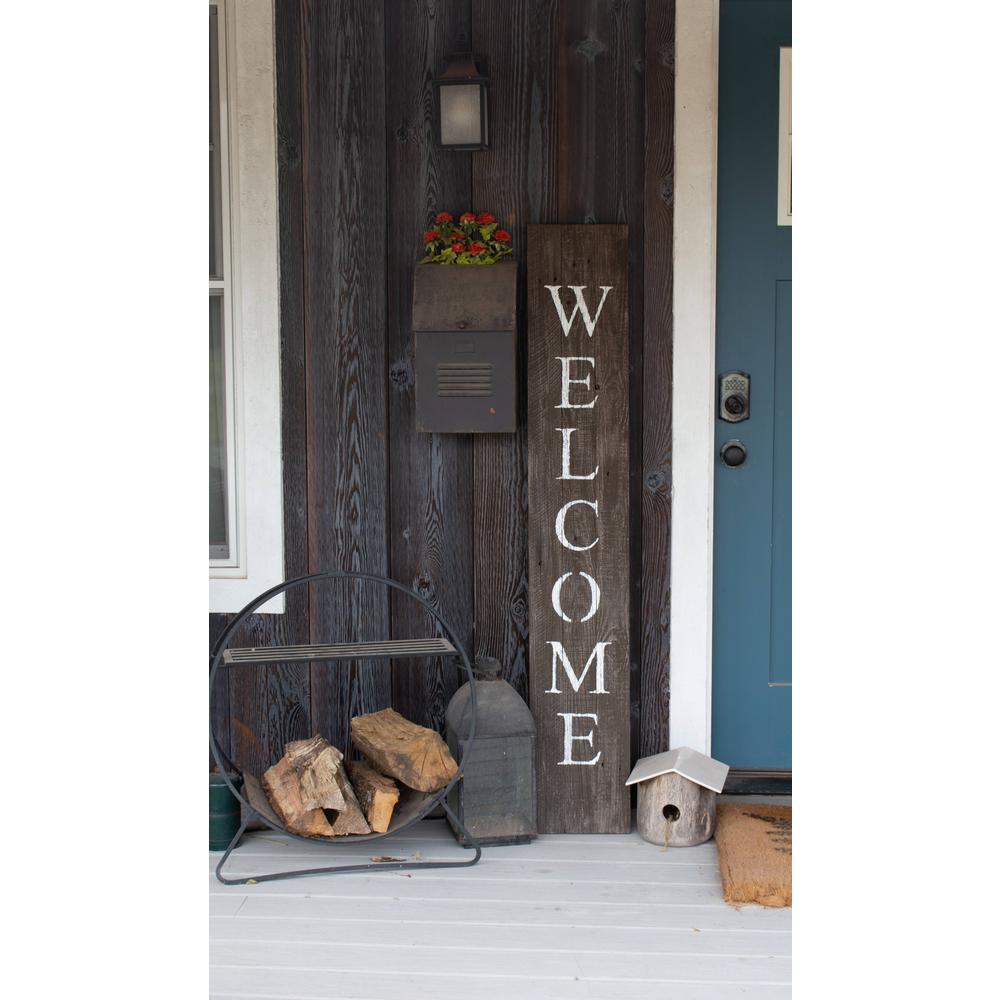 Rustic Espresso Brown and White Front Porch Welcome Sign - 384913. Picture 3