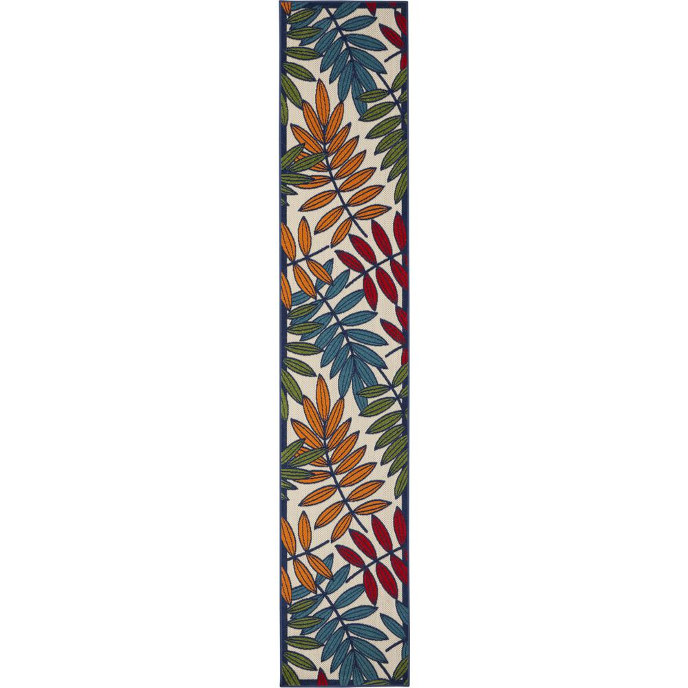 2'x 12' Multicolored Leaves Indoor Outdoor Runner Rug - 384938. Picture 1