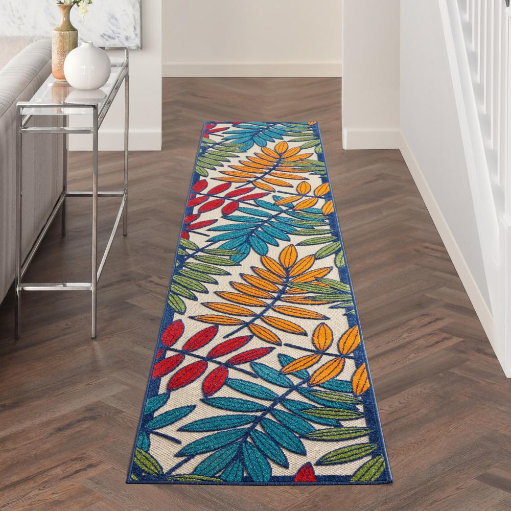 2'x 12' Multicolored Leaves Indoor Outdoor Runner Rug - 384938. Picture 4