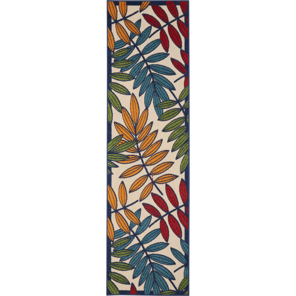 2'x 8' Multicolored Leaves Indoor Outdoor Runner Rug - 384939. Picture 1