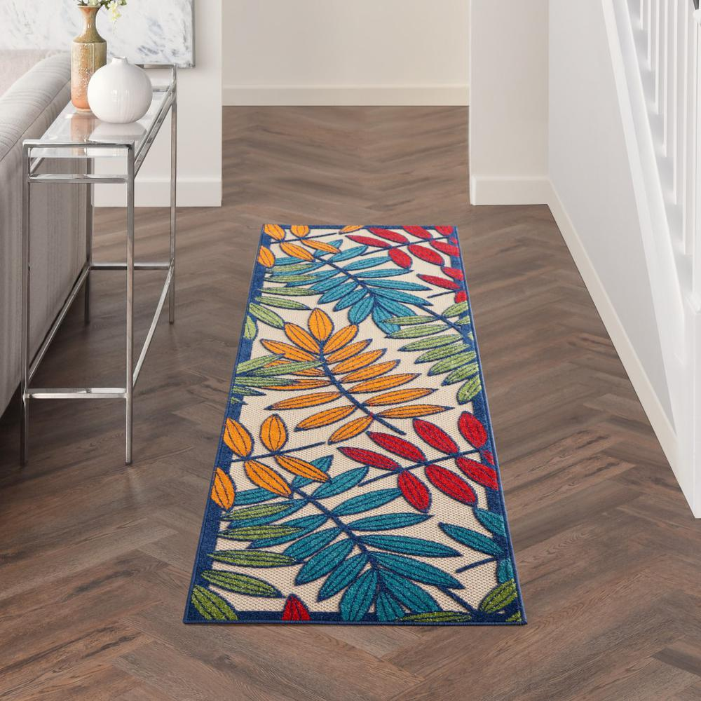 2'x 8' Multicolored Leaves Indoor Outdoor Runner Rug - 384939. Picture 4