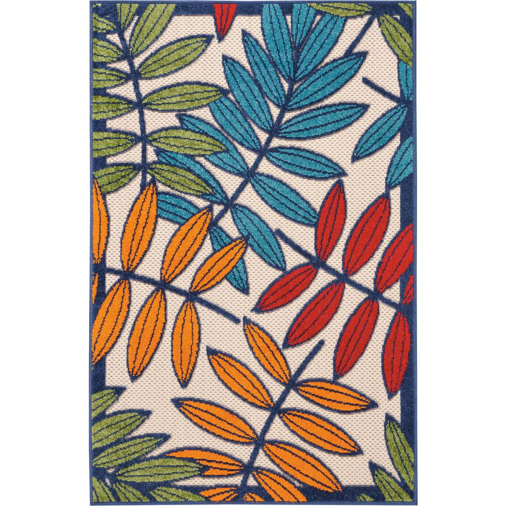3'x 4' Multicolored Leaves Indoor Outdoor Area Rug - 384940. Picture 1