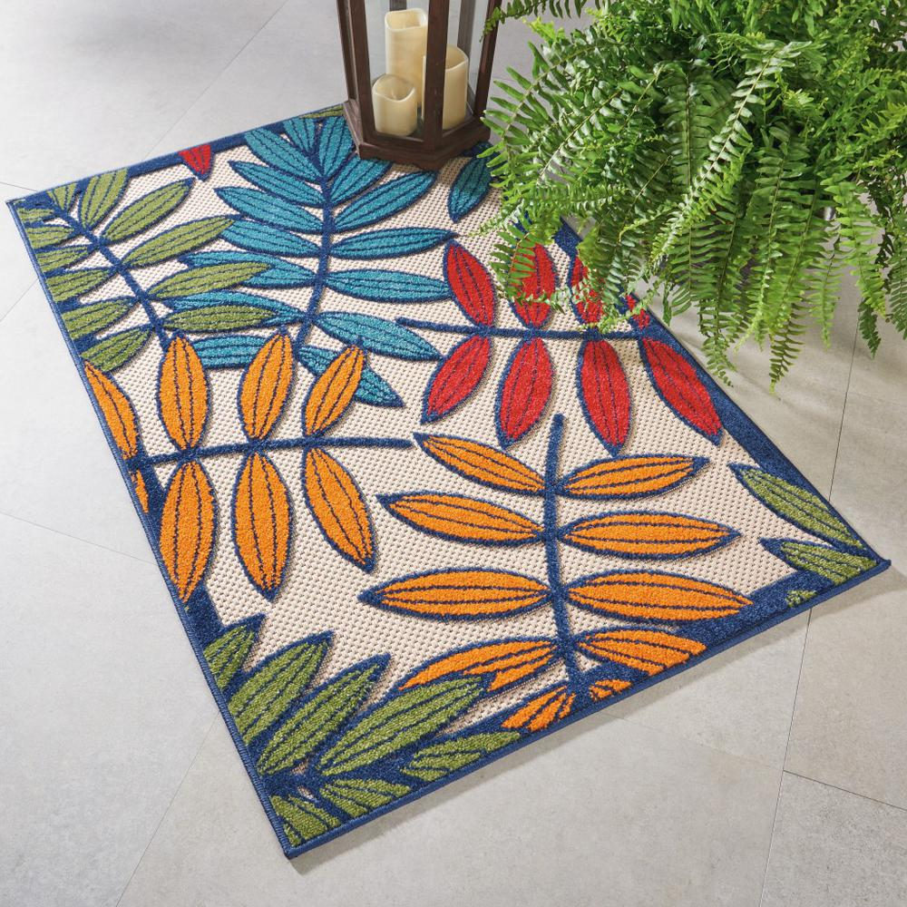 3'x 4' Multicolored Leaves Indoor Outdoor Area Rug - 384940. Picture 5