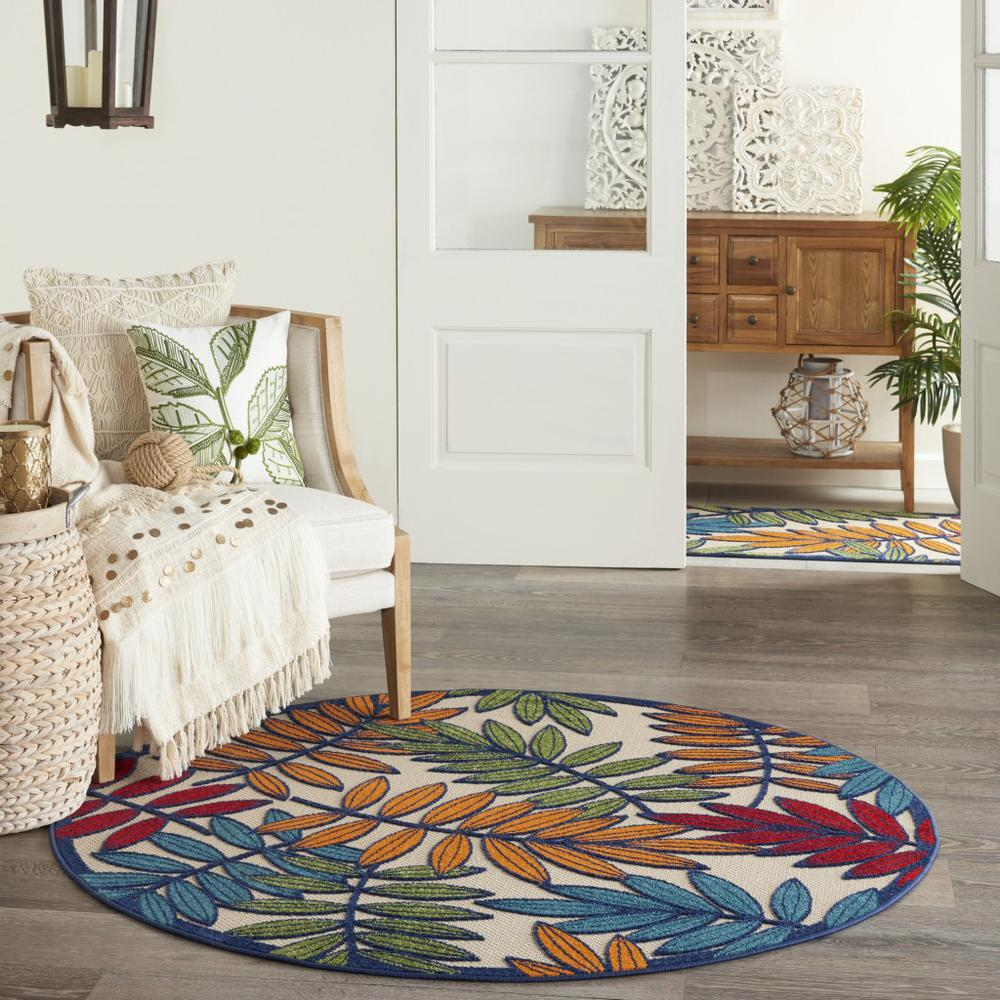 4' Round Multicolored Leaves Indoor Outdoor Area Rug - 384942. Picture 4