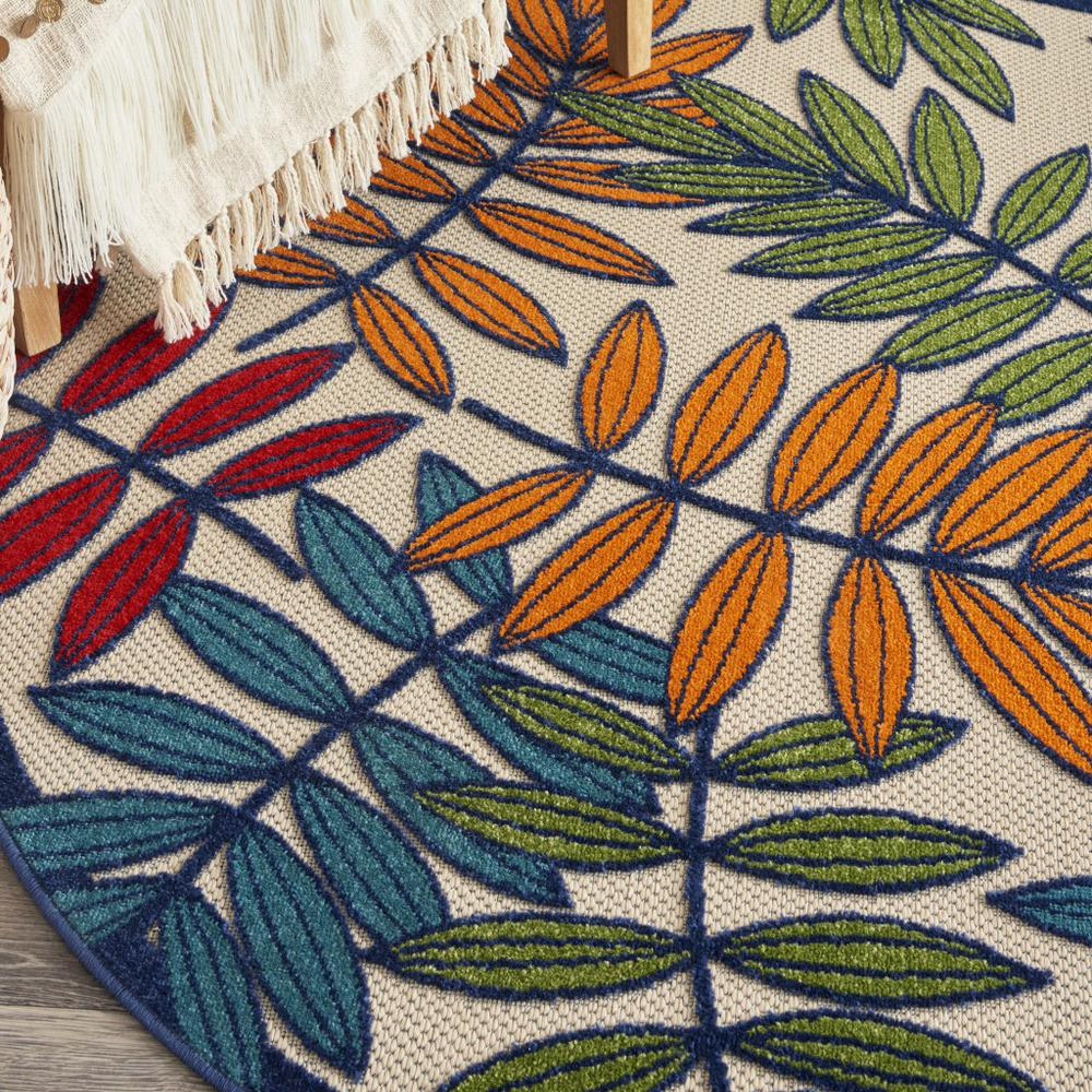 4' Round Multicolored Leaves Indoor Outdoor Area Rug - 384942. Picture 5