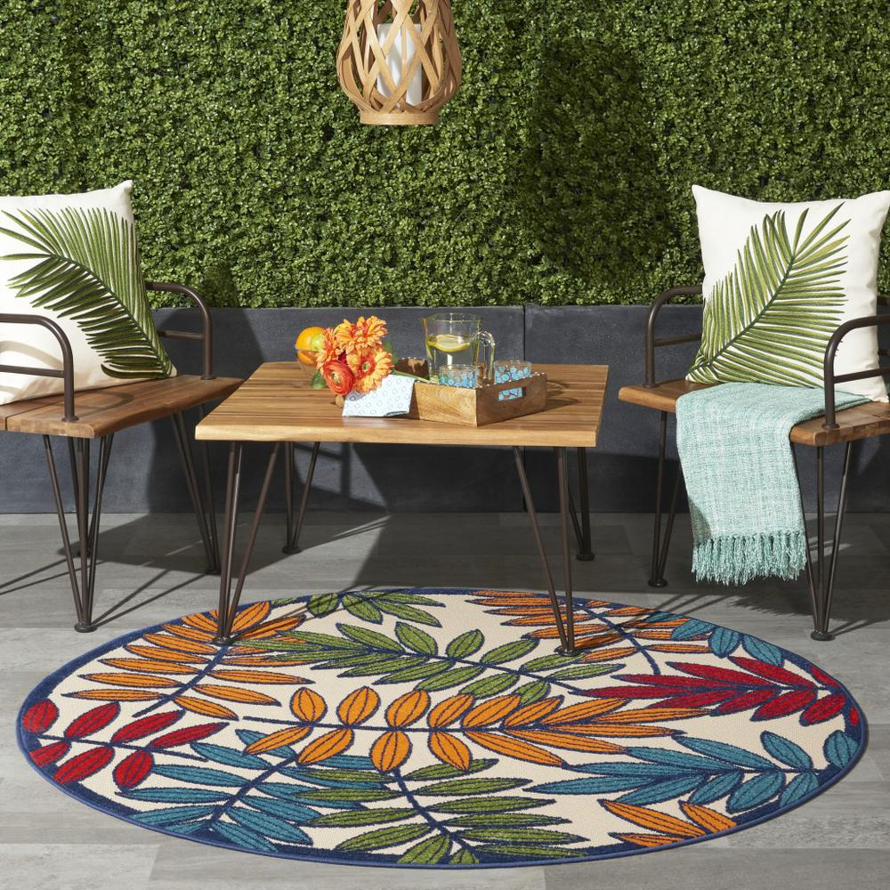 4' Round Multicolored Leaves Indoor Outdoor Area Rug - 384942. Picture 6