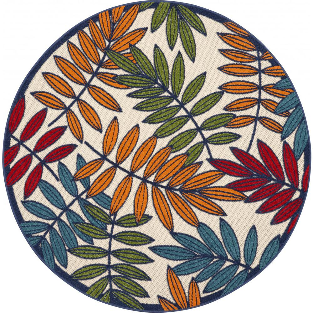 5' Round Multicolored Leaves Indoor Outdoor Area Rug - 384944. Picture 1