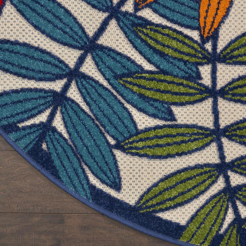 5' Round Multicolored Leaves Indoor Outdoor Area Rug - 384944. Picture 2