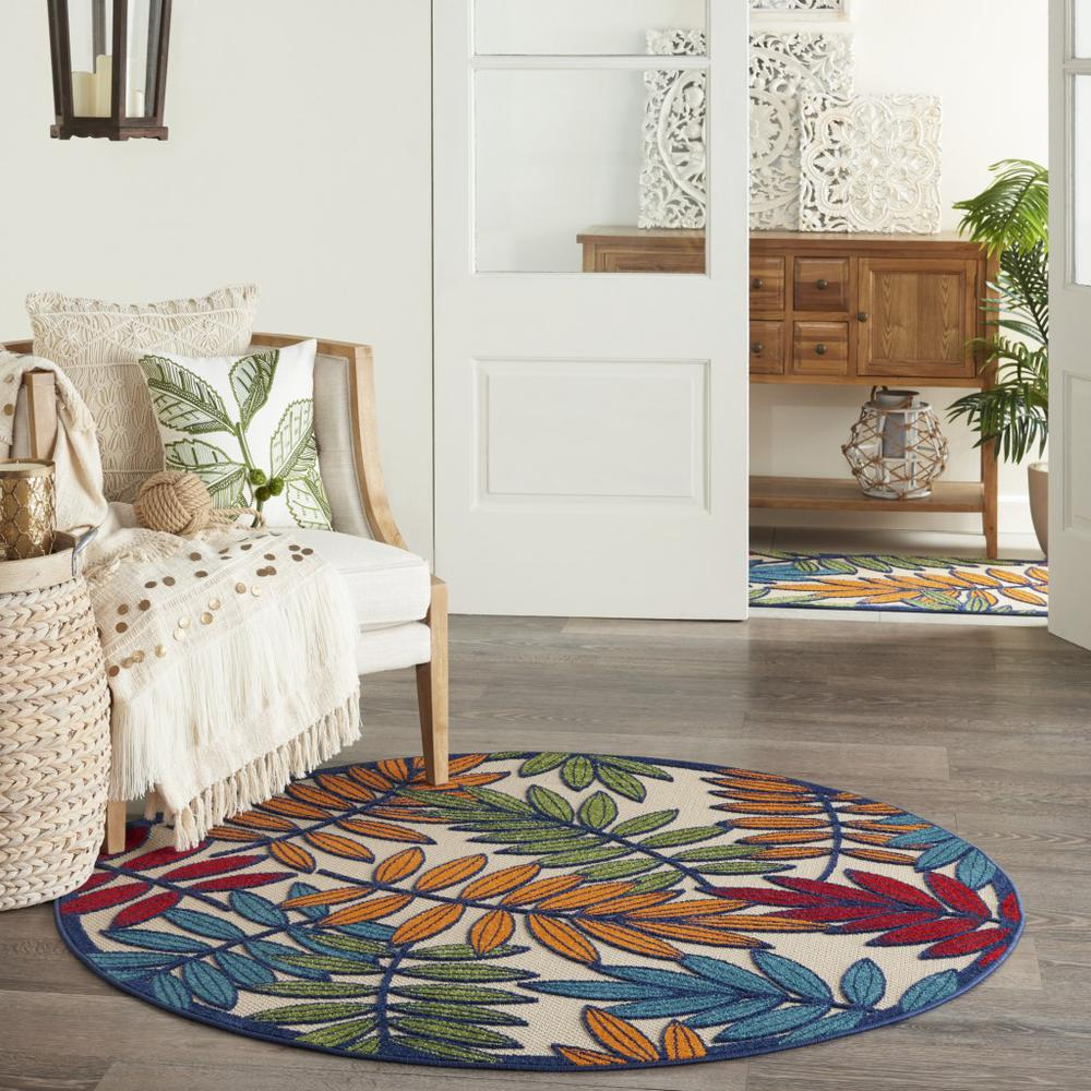 5' Round Multicolored Leaves Indoor Outdoor Area Rug - 384944. Picture 6