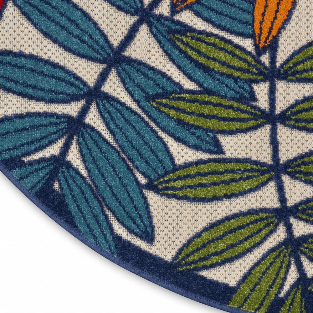 5' Round Multicolored Leaves Indoor Outdoor Area Rug - 384944. Picture 7