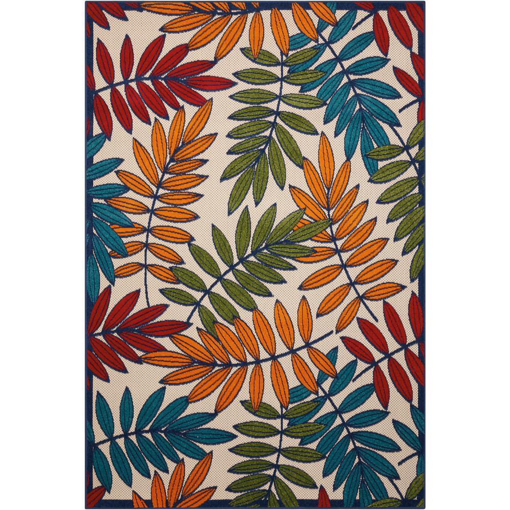 6'x 9' Multicolored Leaves Indoor Outdoor Area Rug - 384945. Picture 1