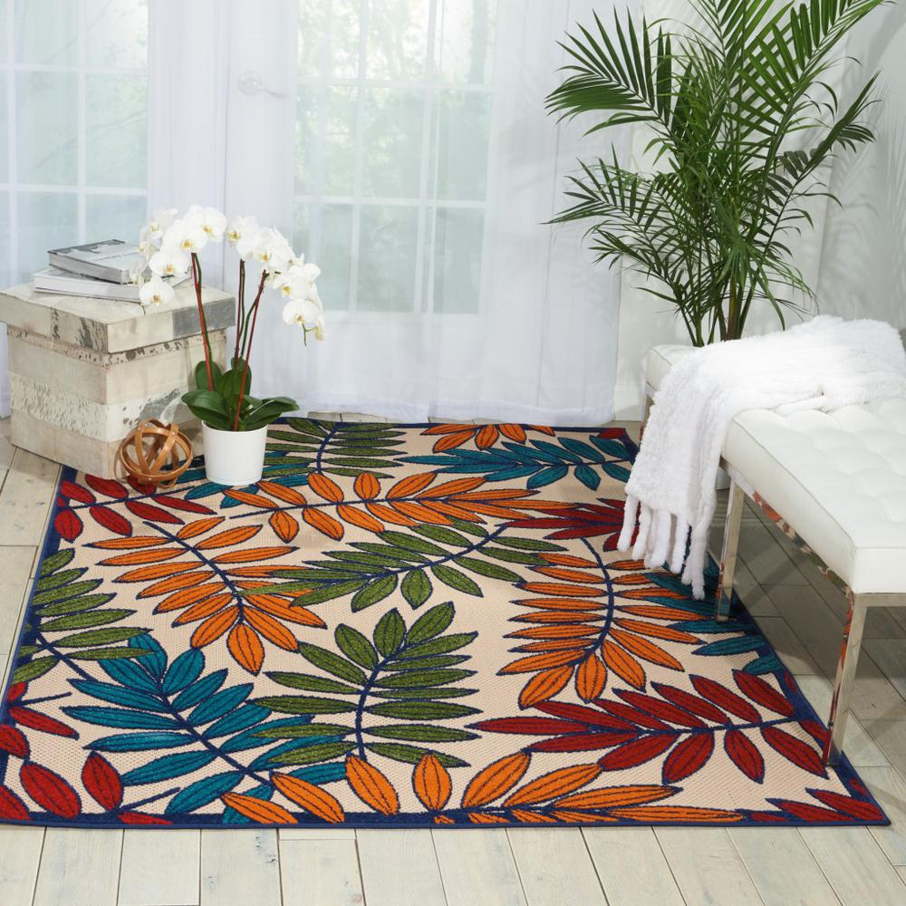 6'x 9' Multicolored Leaves Indoor Outdoor Area Rug - 384945. Picture 4