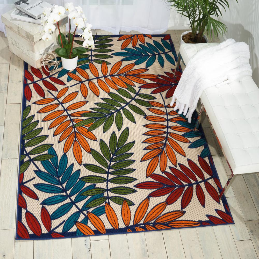 6'x 9' Multicolored Leaves Indoor Outdoor Area Rug - 384945. Picture 5