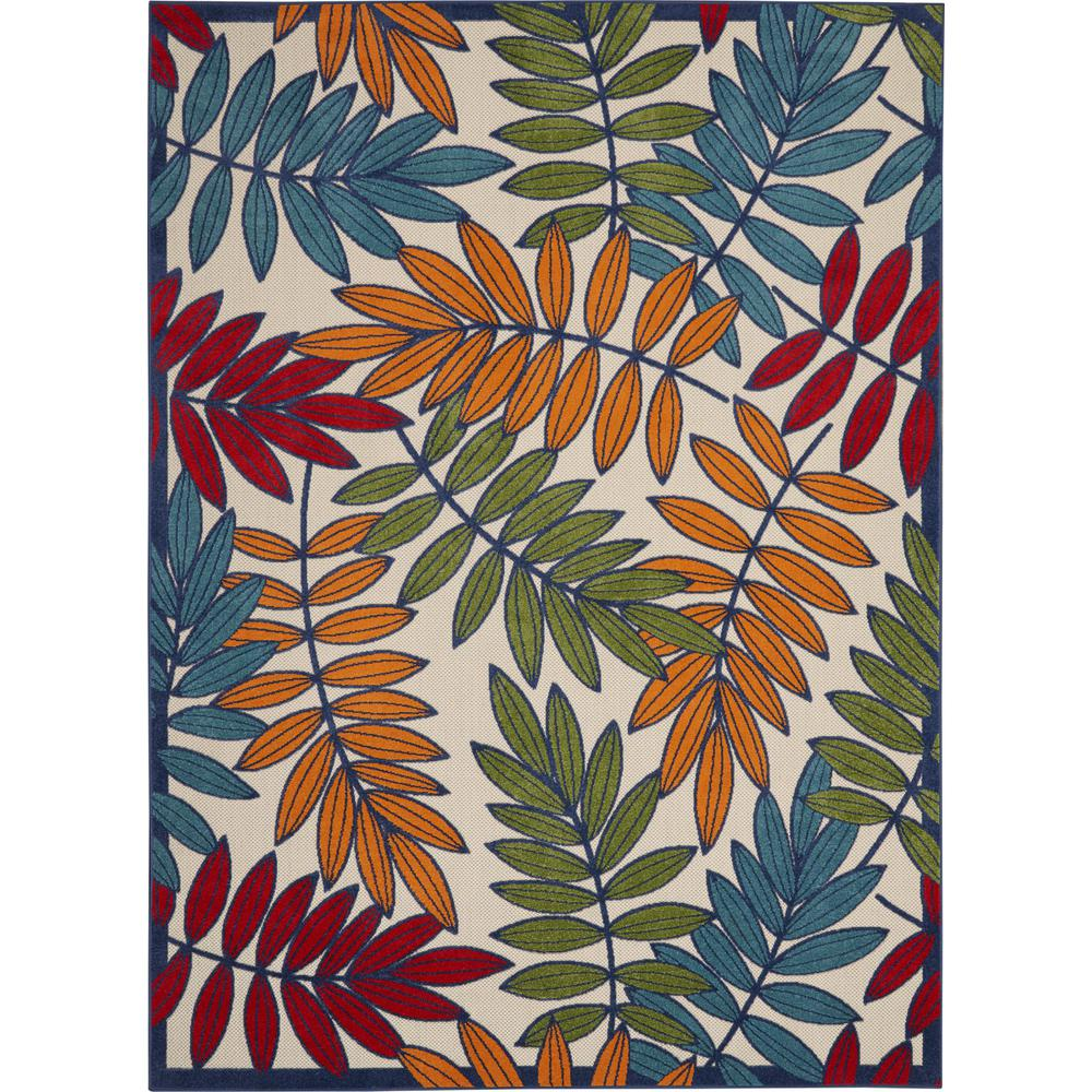 8'x 11' Multicolored Leaves Indoor Outdoor Area Rug - 384947. Picture 1