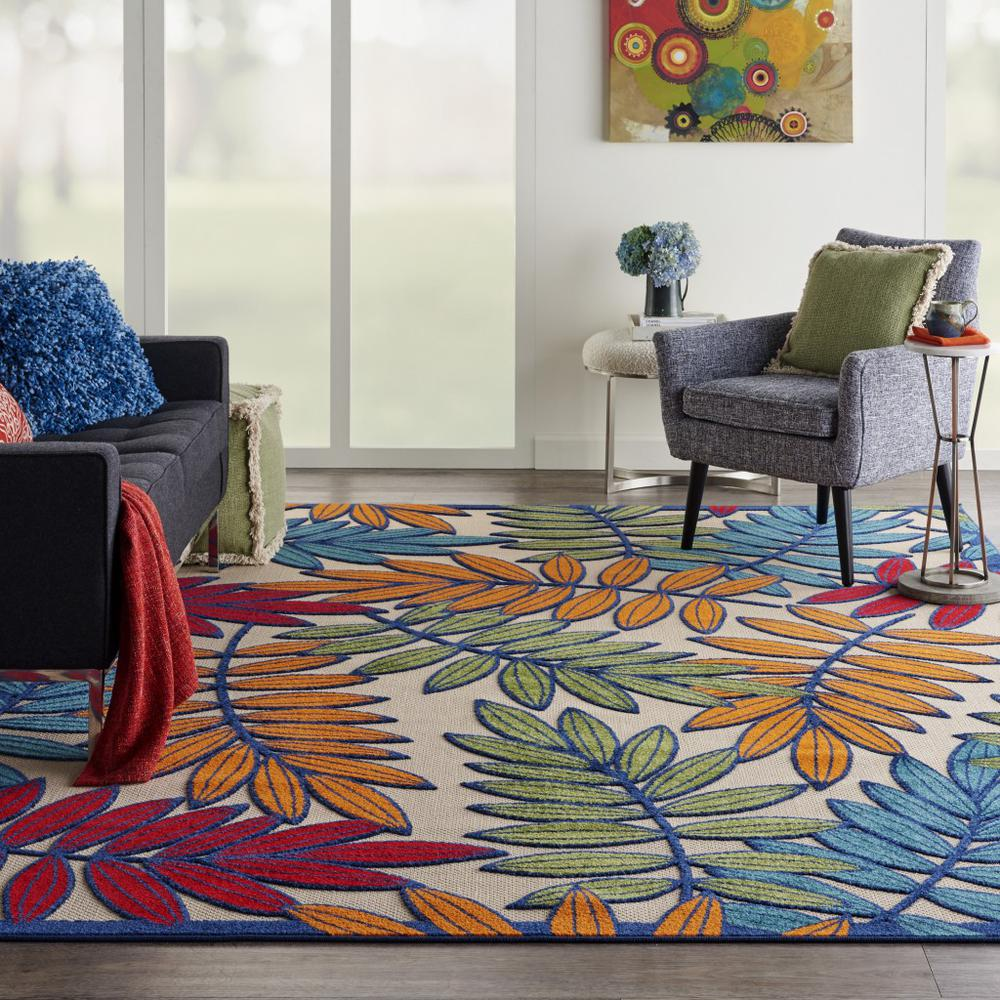 8'x 11' Multicolored Leaves Indoor Outdoor Area Rug - 384947. Picture 4