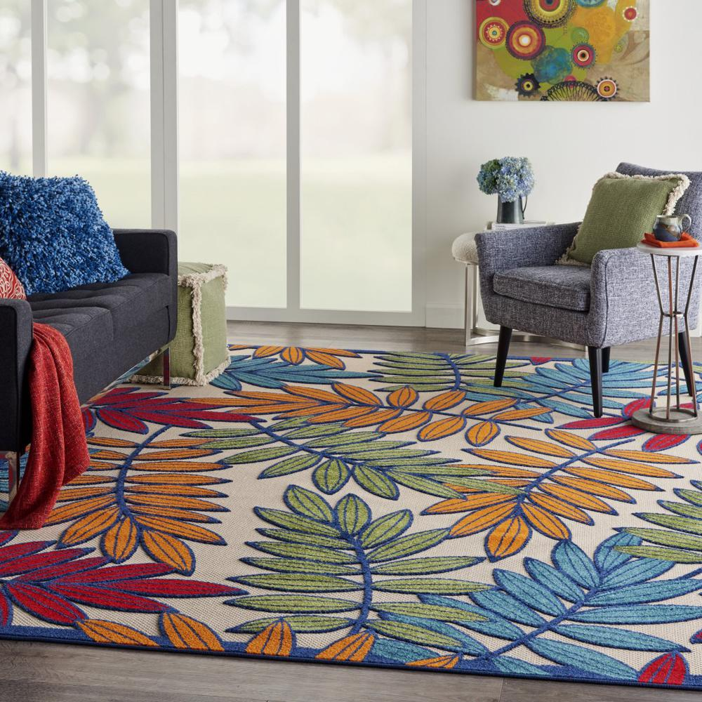 8'x 11' Multicolored Leaves Indoor Outdoor Area Rug - 384947. Picture 6