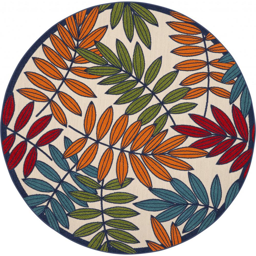8' Round Multicolored Leaves Indoor Outdoor Area Rug - 384948. Picture 1